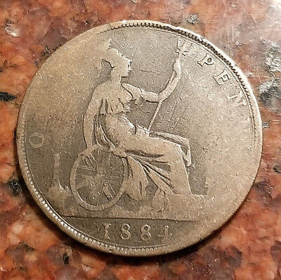 1884 Great Britain One Penny Coin - Young Victoria - #3252