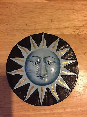"""Sun on One Side, Moon on Other Wall Sculpture Mount Hanging Decor Plaque 6"""""""