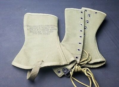 NOS WWII US ARMY Military Canvas Leggings Spats Gaiters M-1938