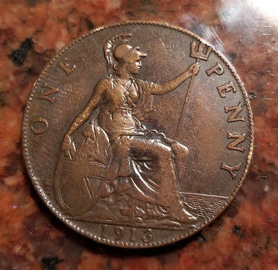 1913 Great Britain One Penny - High Grade - Beautiful Red Tone - #3402