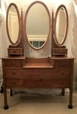 Antique Edwardian Dressing Table with Oval Central and Side Mirrors