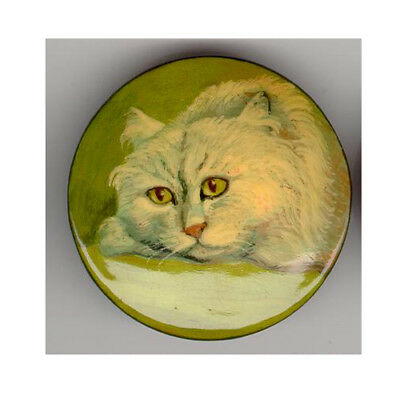 Russian Hand Painted Lacquer Brooch Pin Kitty Cat