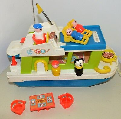 Vintage Fisher Price Little People HAPPY HOUSEBOAT boat ship Complete 1972