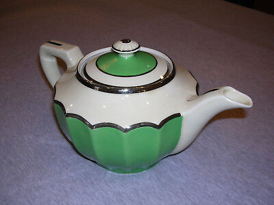 Fraunfelter China teapot #388 in green and white