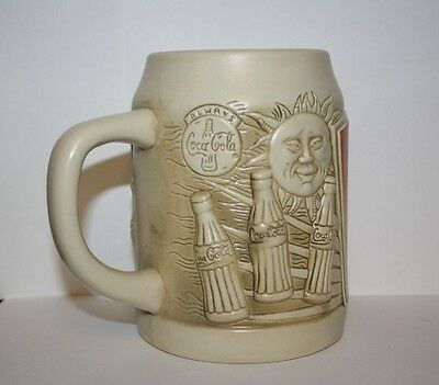 1996 Always Coca Cola Sculptured Pottery Tankard Mug with Painted Sun Label NIB!