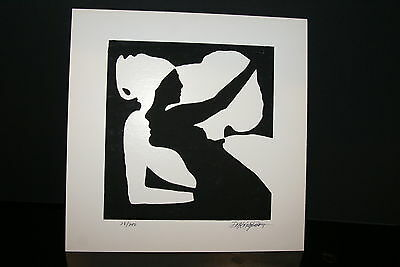 1970 Serigraph Optical Illusion Black & White Art signed Limited Edition 28/200