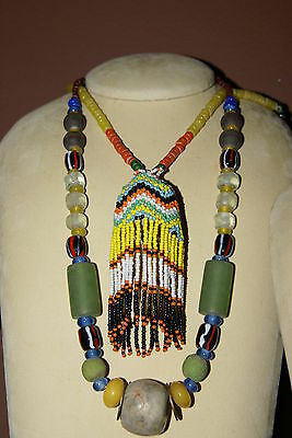 Old Borneo Unique Tribal Ethnic Dayak Iban Tribe Necklace Glass Bead Shell Stone