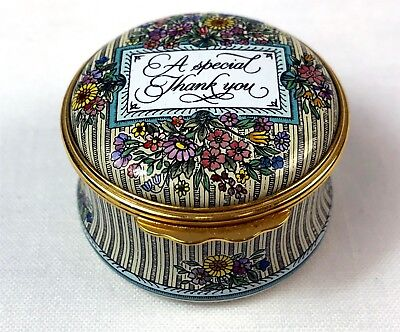 """Vintage Halcyon Days Revival Battersea Trinket Box """"A Special Thank You"""""""