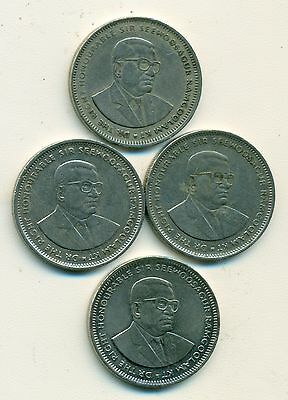 4 DIFFERENT 1 RUPEE COINS from MAURITIUS (1987, 1991, 1993 & 2005)