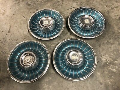 """1961 Cadillac Hub Caps 15"""" Set of 4 Caddy Wheel Covers Hubcaps 1961"""