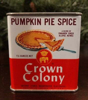 Vtg Tin Can Crown Colony PUMPKIN PIE SPICE Graphics Picture Fall Thanksgiving