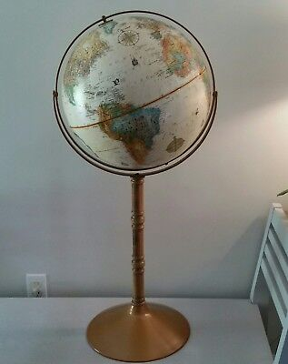"""Vintage 1981 Replogle Rotating 16"""" World Classic Globe Floor Stand 38"""" Excellent"""