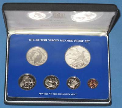 1975 British Virgin Islands 6 Coin Proof Set with Silver $1 and Original Case
