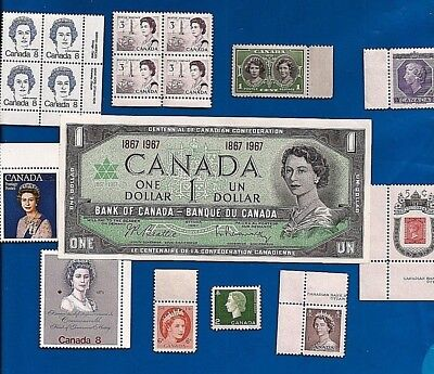 1867 1967 CANADA Canadian CENTENNIAL one 1 DOLLAR BILL NOTE UNC w stamps