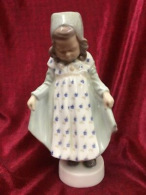 "Royal Copenhagen Girl Standing Holding Dress 1252 -  8.25"" Tall  - Old Mark"