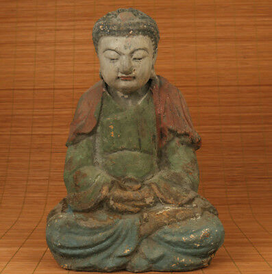 Ancient Big collection old Wood Handmade Kneel Buddha Statue Temple Consecrate