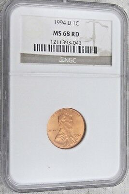 1994 D Lincoln Memorial Cent/Penny - NGC MS 68 RD (3-043)