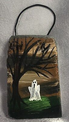 "SLATE HALLOWEEN Spooky GHOST Hand Painted 2.5"" x 4"" ORNAMENT Decoration FAVOR"