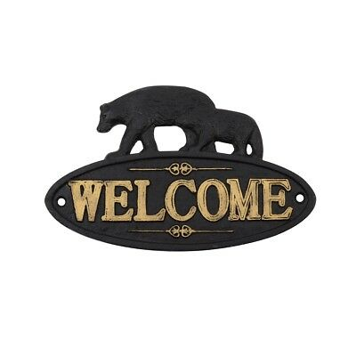 Cast Iron Black Bear Welcome Sign Rustic Cabin Wall Home Front Door Porch Decor