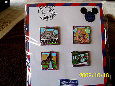 Disney Parks * ATTRACTIONS * NEW in PACK 4 pin BOOSTER Set - Tea Cups Space Mt