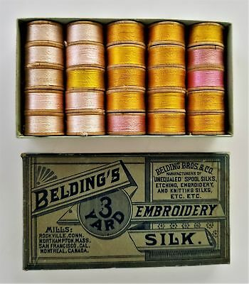 antique SILK EMBROIDERY THREAD BELDING unused 25 3yd WOOD SPOOLS sewing GOLD