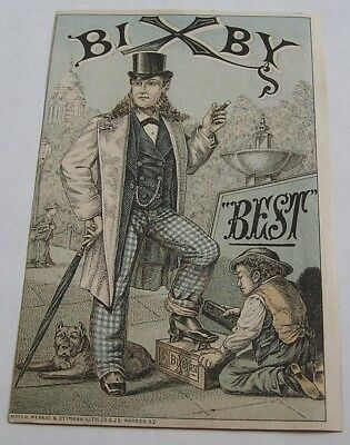 Advertising Trade Card, Bixby's Best Blacking, Boots & Shoes, New York