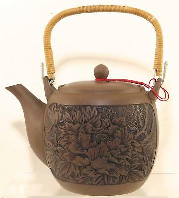 Vintage CHINESE YIXING PURPLE SAND Handwork TEAPOT Incised  Flowers on Sides