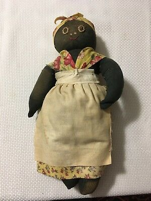 Old Vintage Black Woman Sock Doll Embroidered Face Stereotype Black Americana