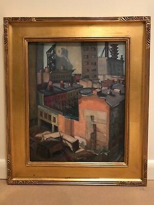 RARE Antique WPA Style Cityscape Impressionist Oil Painting of Chicago