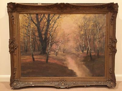 Antique Large Impressionist Forest Oil Painting Signed - Rare
