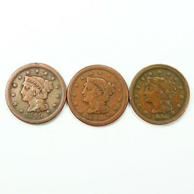 Group Lot of 3 Early U.S. Large Cents - Exact Lot Shown 3365