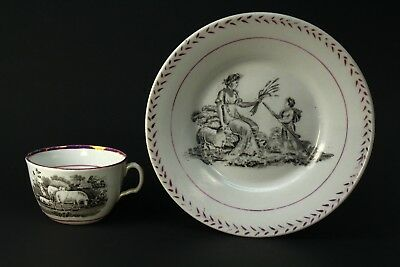 ! Antique 1800's English Pearlware Lusterware Cup & Saucer Set - Romantic Sheep