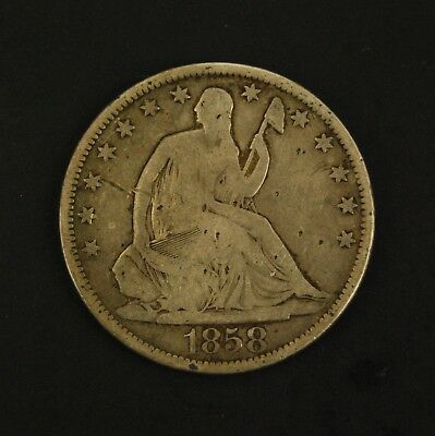 1858-S 50C Seated Liberty Silver Half Dollar