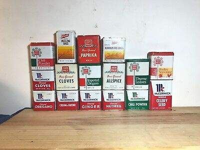 Vintage Lot Of 16 Spice Tins; McCormick, Ann Page A&P, French's GREAT LARGE LOT