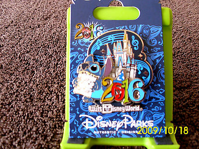 Disney * 2016 Dated - Stitch & Castle * New on Card WDW Trading Pin