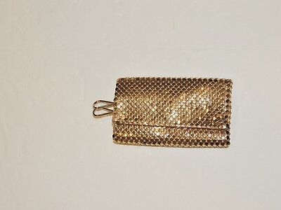 Vintage ca. 1950's Whiting & Davis Small Gold Mesh Key Case Unused