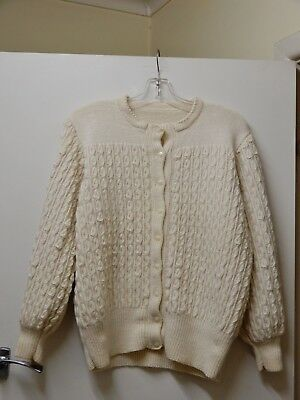 Hand Knitted Cream  Pure Wool Women's Cardigan Patterned High Quality Sz 16-18