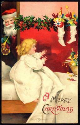 Embossed Christmas PPC - Child Wakes to Stocking Filled by Santa - Clapsaddle