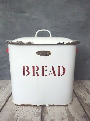 VINTAGE ENAMEL BREAD BIN WITH LID, RED and WHITE