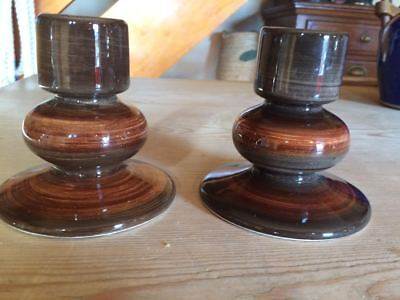 Pair of Jersey Pottery candlesticks candle holders