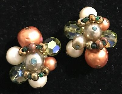 Vintage Vendome Beaded green brown Pearl FALL crystal Cluster Clip On Earrings