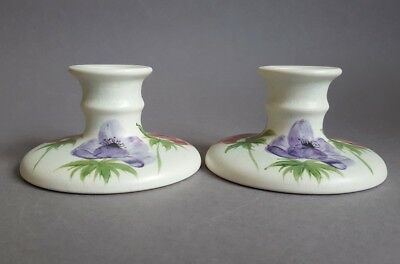 """Pair Vintage Radford Hand Painted Pottery Candlesticks Candle Holder 4"""" dia  :S7"""
