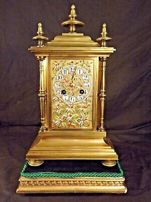 "Stunning ""Holly Berry"" Porcelain Panel Gilt Brass Clock ""Henry Marc"" C1890."
