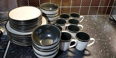 Denby Everyday Dinner Set Grey Green Colour, Plates, Bowls and Mugs 32 Piece.