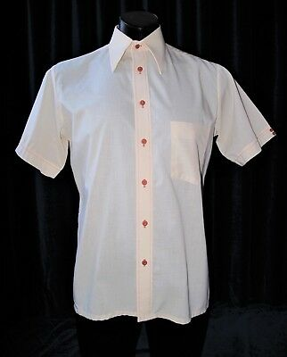 "True Vintage 1970's Costume Cream Short Sleeve Shirt size M-L up to 42"" Chest"