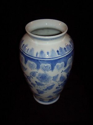 Vintage Chinese Ceramic Vase with Blue Hand-Painted Design
