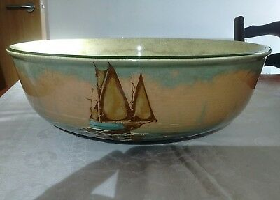 Royal Doulton Washbowl Decorated With A Fishing Vessel In Waters No. D22/4 40cmW