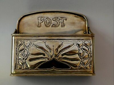 Arts & Crafts Genuine Keswick School Of Art Brass Post Box Letter Holder Signed