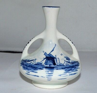 Vintage Delft small Bud Vase REGINA mark Holland Blue White W3
