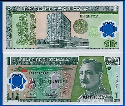 Guatemala P-115 One Quetzal Year 12.2008 Uncirculated Polymer Banknote
